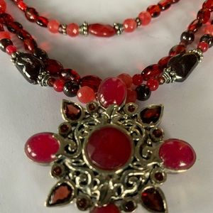 Barse Beautiful red Sterling silver necklace